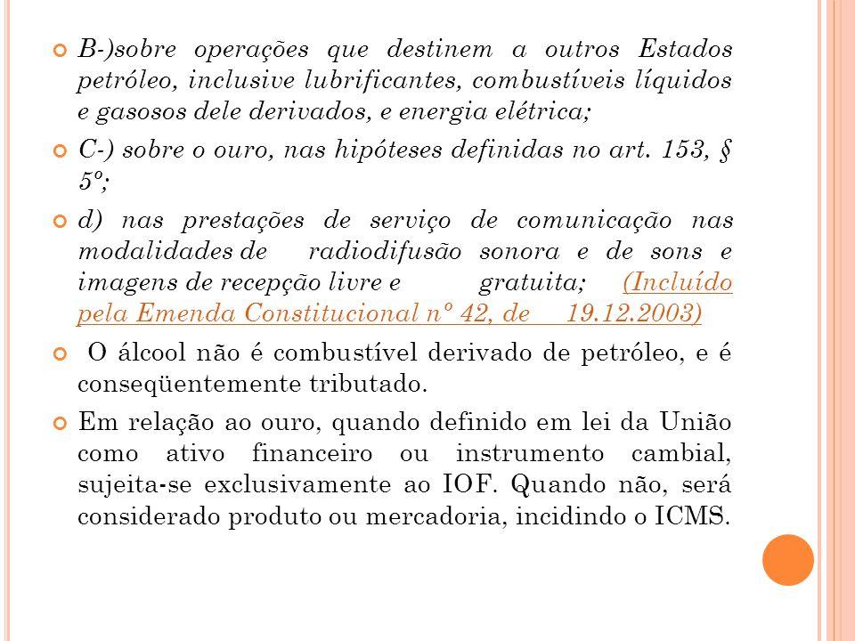B-)sobre operações que destinem a outros Estados petróleo, inclusive lubrificantes, combustíveis líquidos e gasosos dele derivados, e energia elétrica;