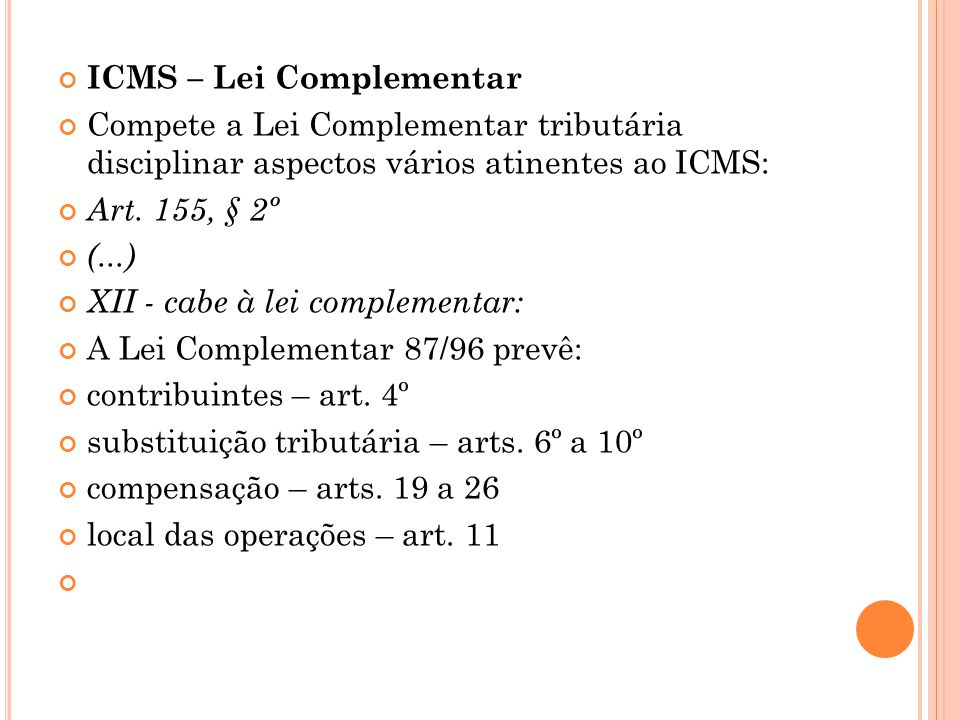 ICMS – Lei Complementar