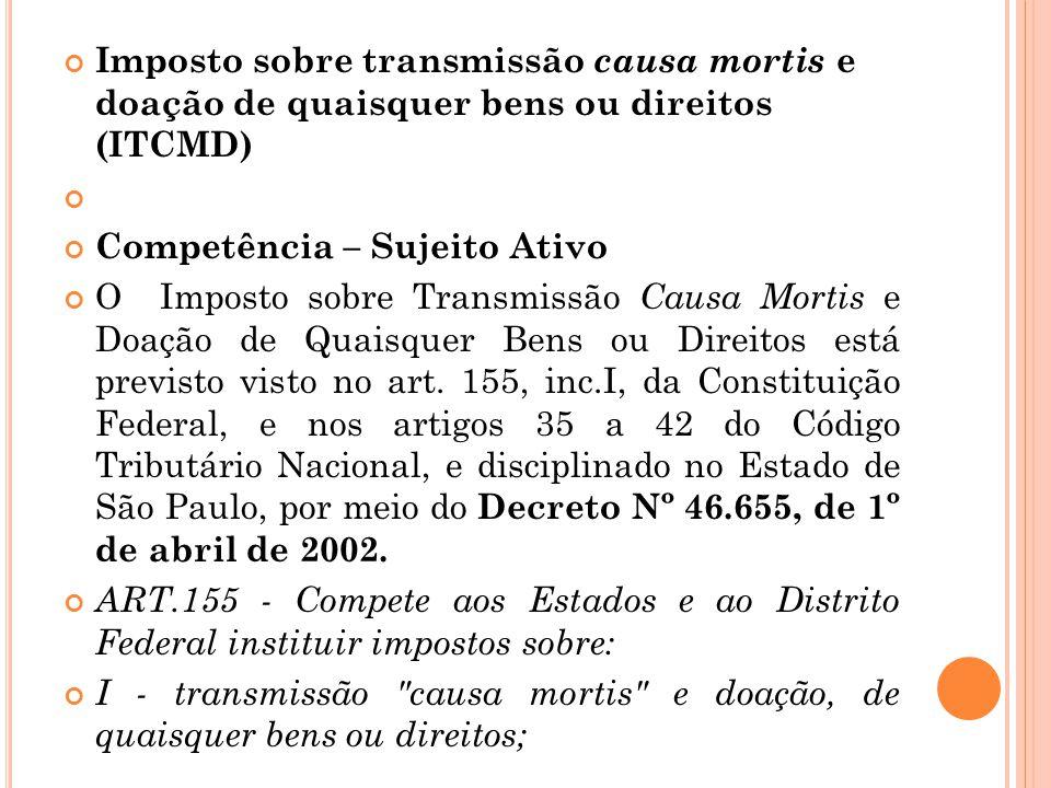 Imposto sobre transmissão causa mortis e doação de quaisquer bens ou direitos (ITCMD)