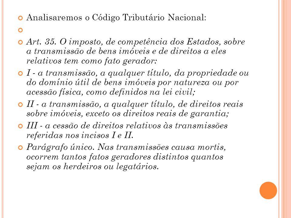 Analisaremos o Código Tributário Nacional: