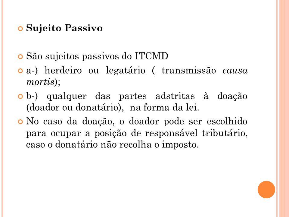 Sujeito Passivo São sujeitos passivos do ITCMD. a-) herdeiro ou legatário ( transmissão causa mortis);