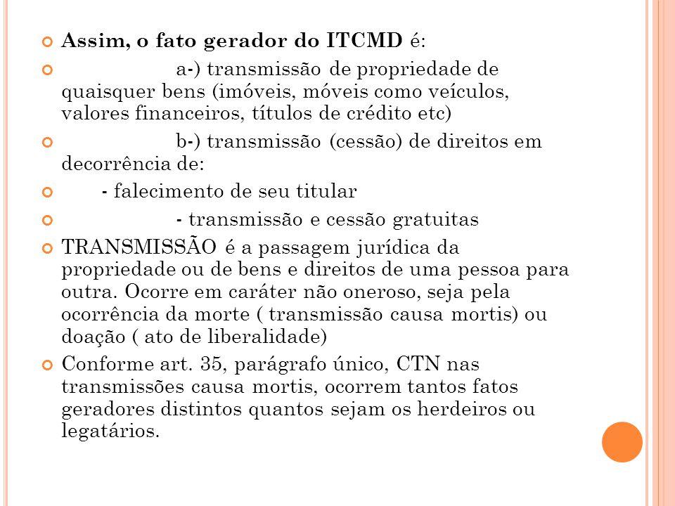 Assim, o fato gerador do ITCMD é: