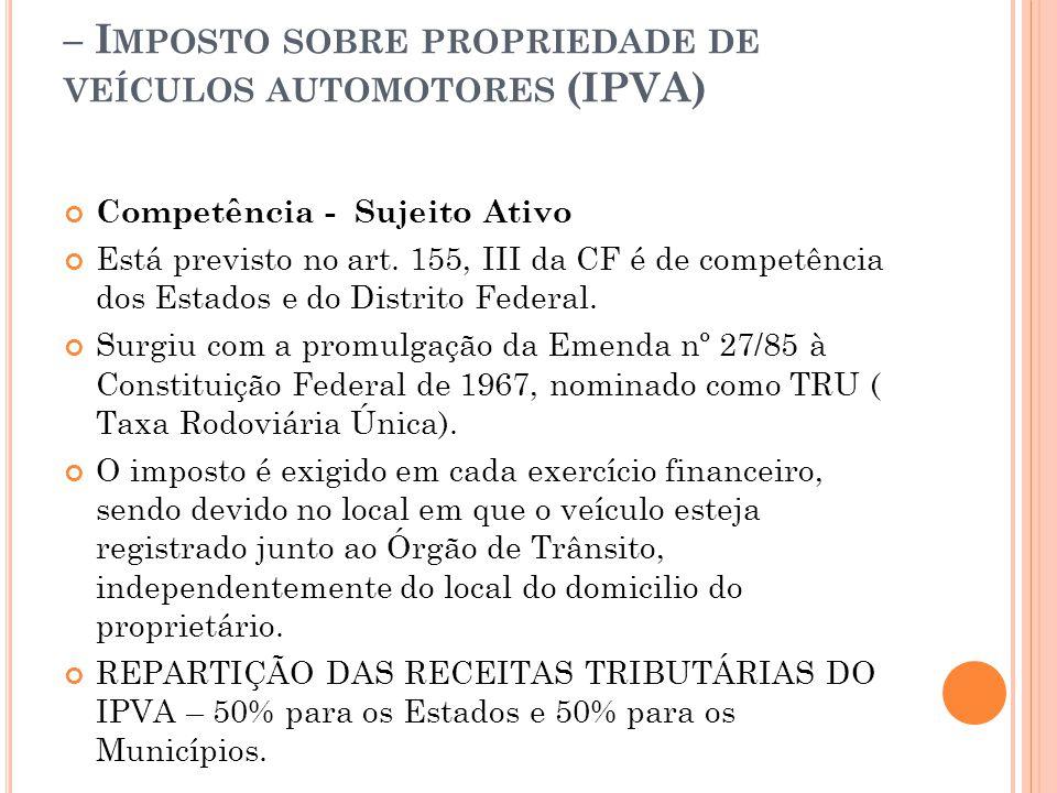 – Imposto sobre propriedade de veículos automotores (IPVA)