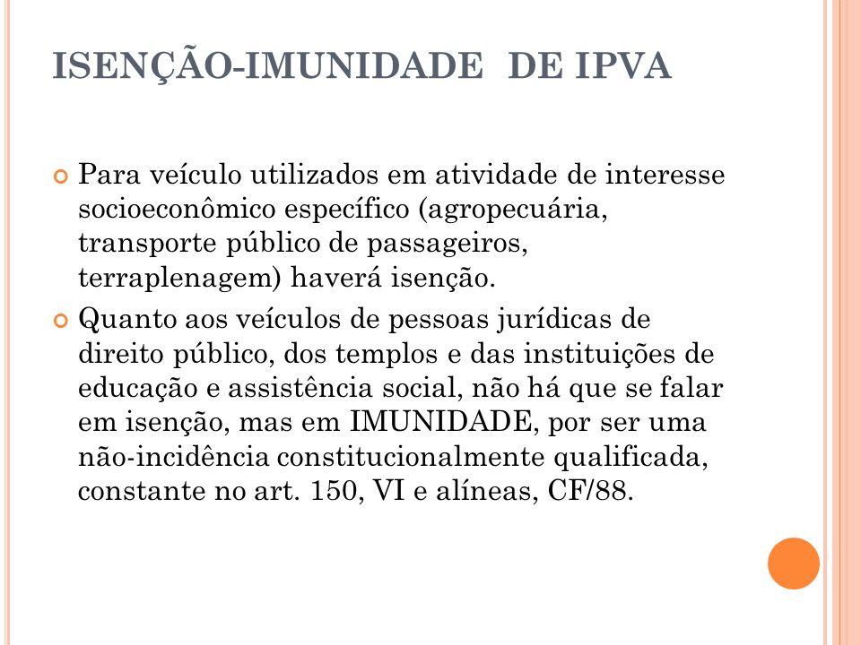 ISENÇÃO-IMUNIDADE DE IPVA