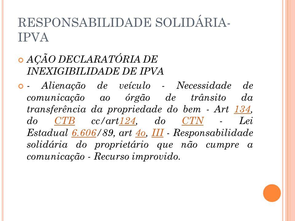 RESPONSABILIDADE SOLIDÁRIA-IPVA