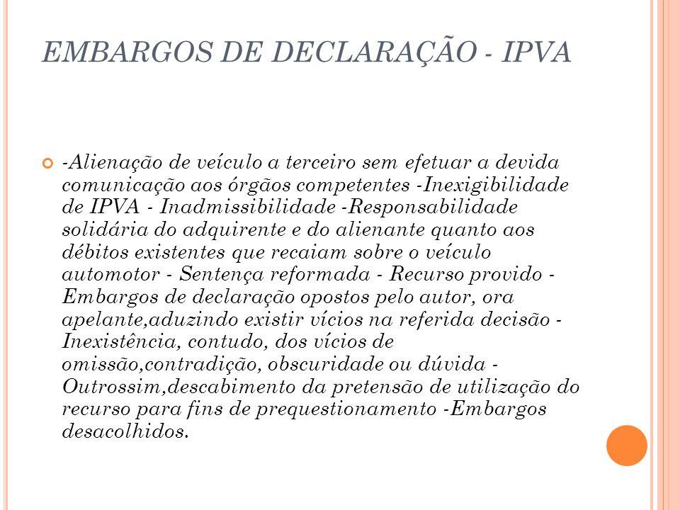 EMBARGOS DE DECLARAÇÃO - IPVA
