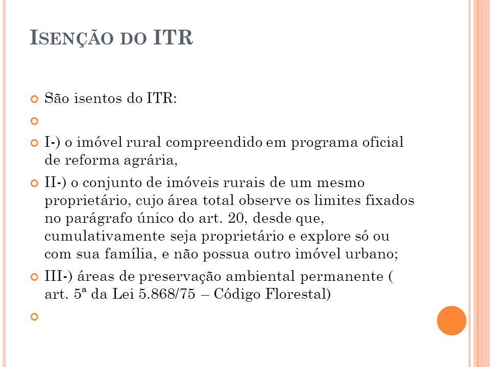 Isenção do ITR São isentos do ITR: