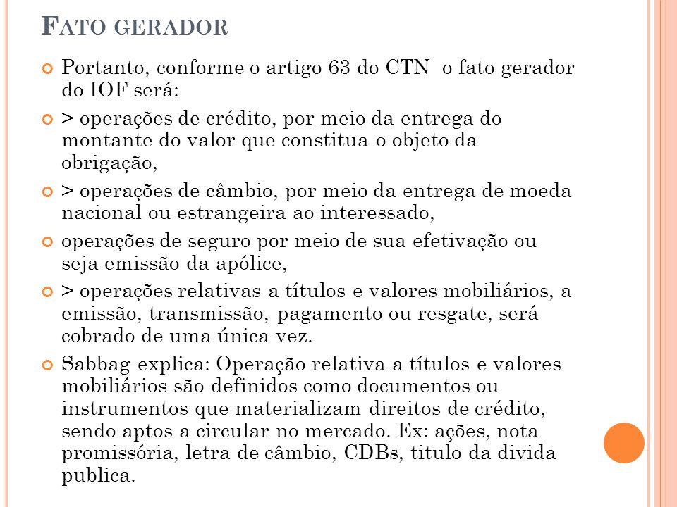 Fato gerador Portanto, conforme o artigo 63 do CTN o fato gerador do IOF será: