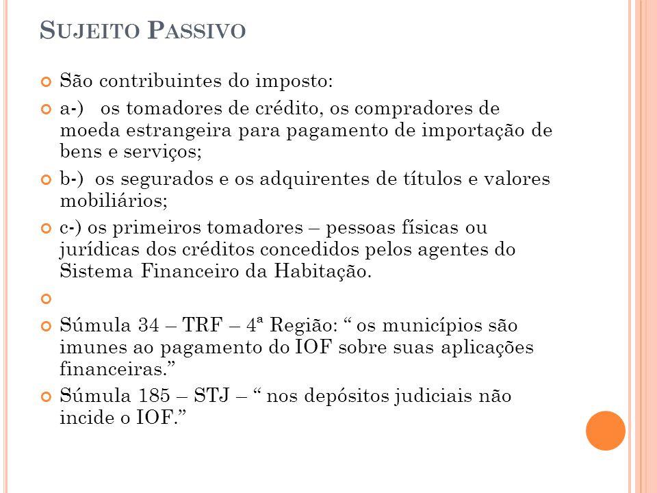 Sujeito Passivo São contribuintes do imposto: