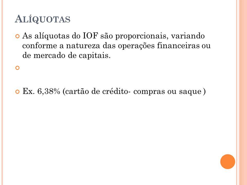 Alíquotas As alíquotas do IOF são proporcionais, variando conforme a natureza das operações financeiras ou de mercado de capitais.