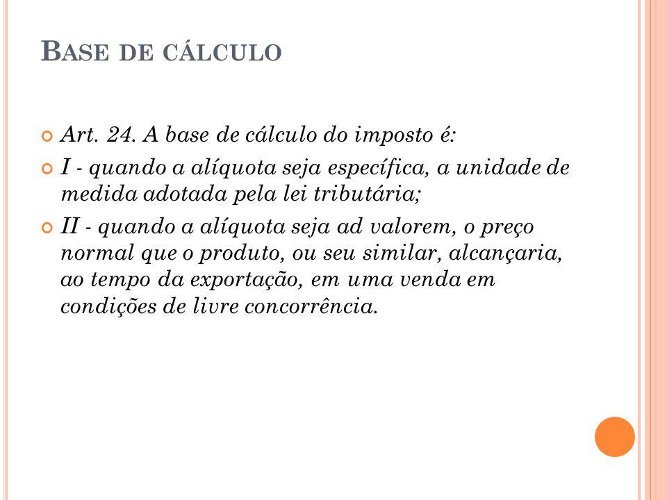 Base de cálculo Art. 24. A base de cálculo do imposto é: