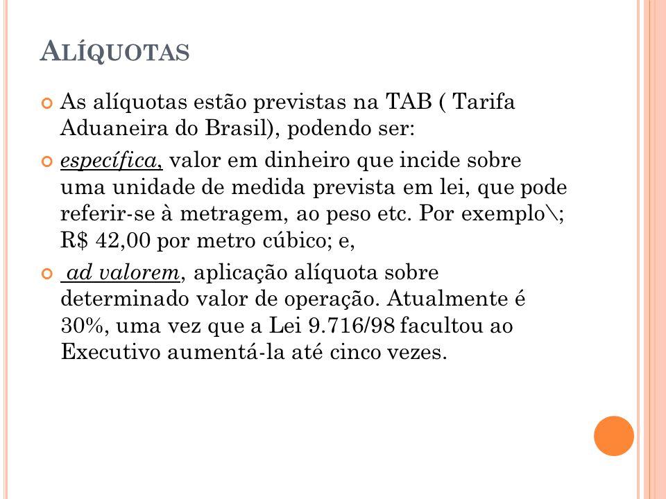 Alíquotas As alíquotas estão previstas na TAB ( Tarifa Aduaneira do Brasil), podendo ser: