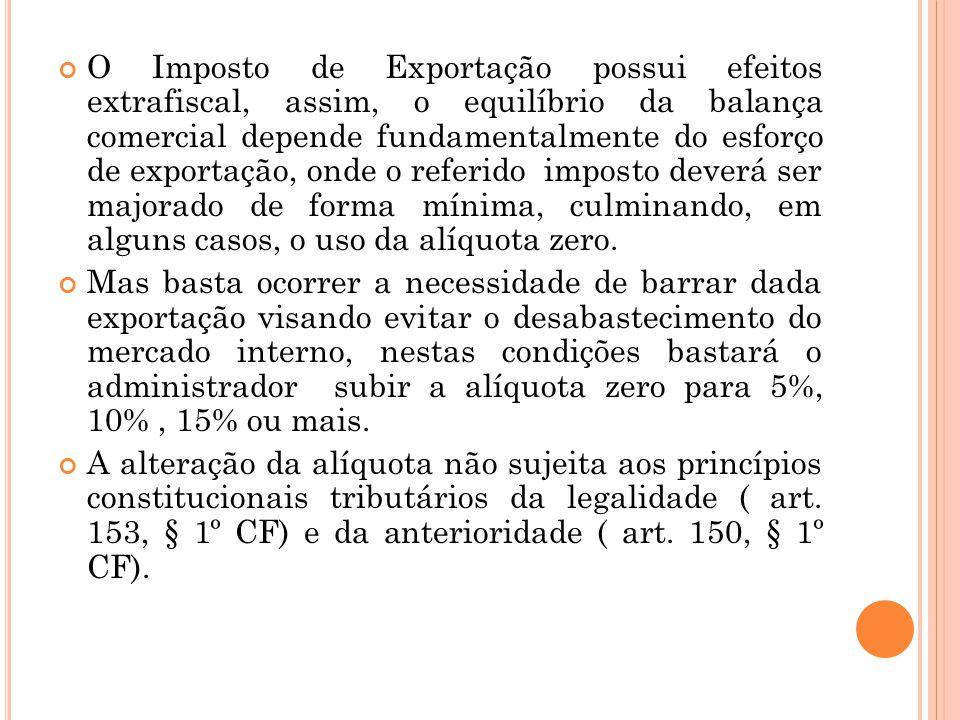 O Imposto de Exportação possui efeitos extrafiscal, assim, o equilíbrio da balança comercial depende fundamentalmente do esforço de exportação, onde o referido imposto deverá ser majorado de forma mínima, culminando, em alguns casos, o uso da alíquota zero.