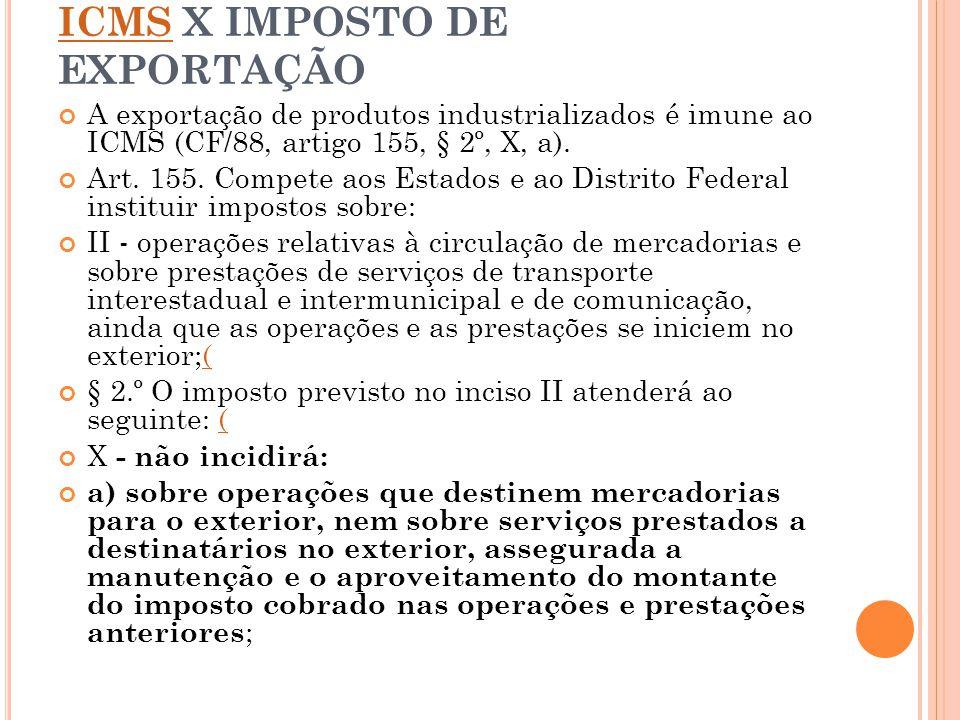 ICMS X IMPOSTO DE EXPORTAÇÃO