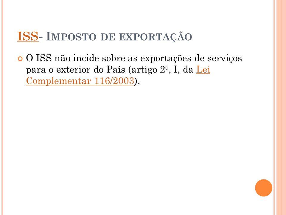 ISS- Imposto de exportação