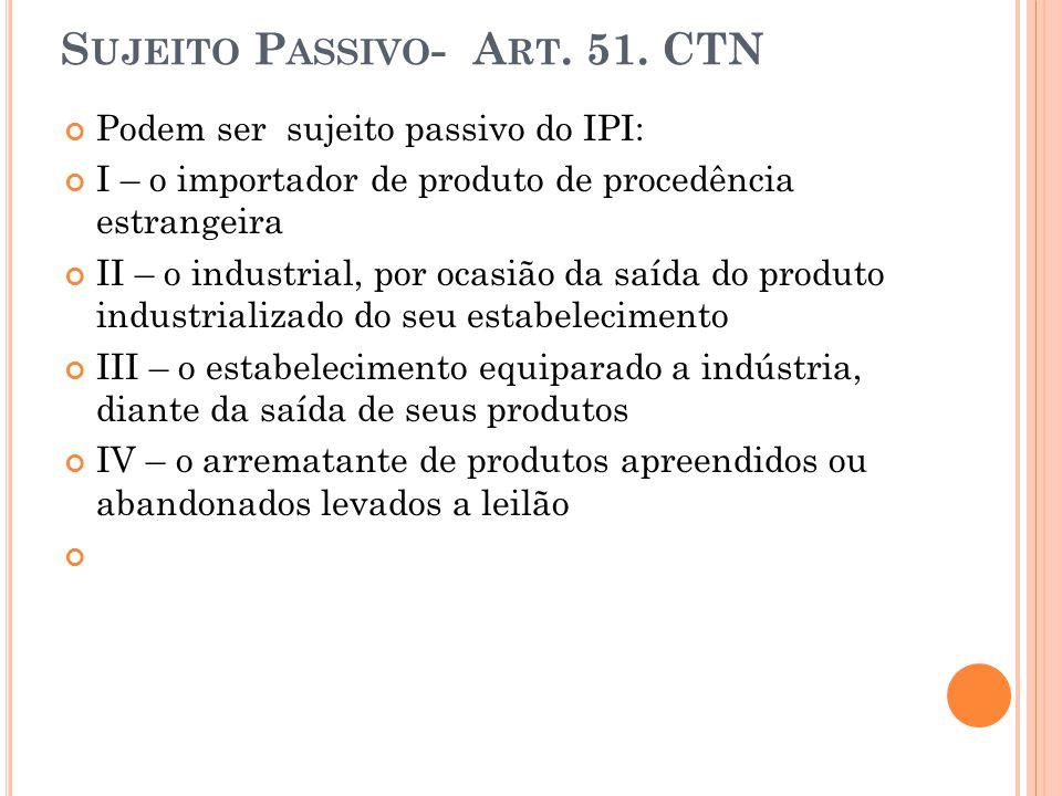 Sujeito Passivo- Art. 51. CTN