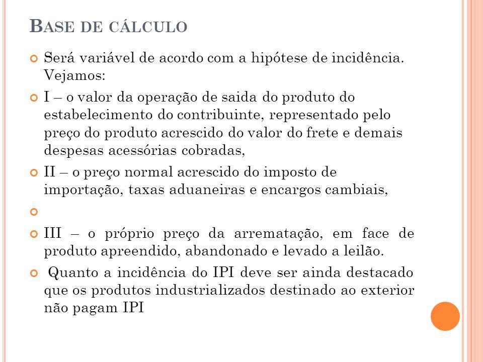 Base de cálculo Será variável de acordo com a hipótese de incidência. Vejamos: