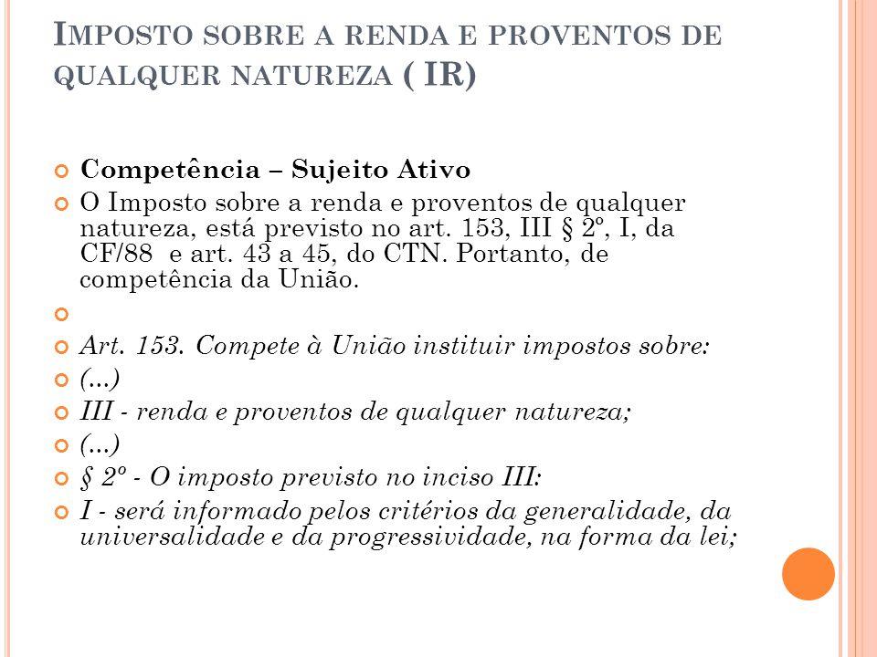 Imposto sobre a renda e proventos de qualquer natureza ( IR)