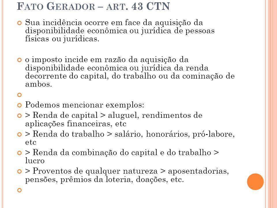 Fato Gerador – art. 43 CTN Sua incidência ocorre em face da aquisição da disponibilidade econômica ou jurídica de pessoas físicas ou jurídicas.