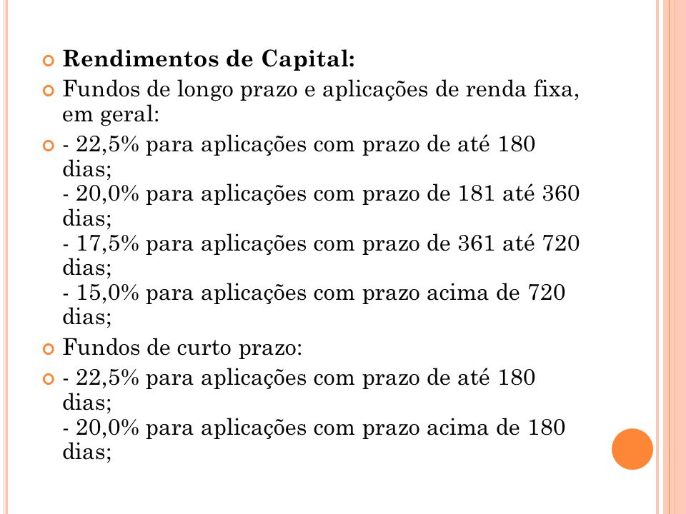 Rendimentos de Capital:
