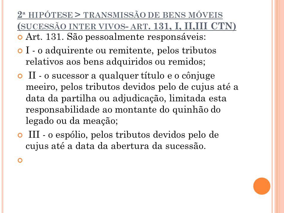 2ª hipótese > transmissão de bens móveis (sucessão inter vivos- art