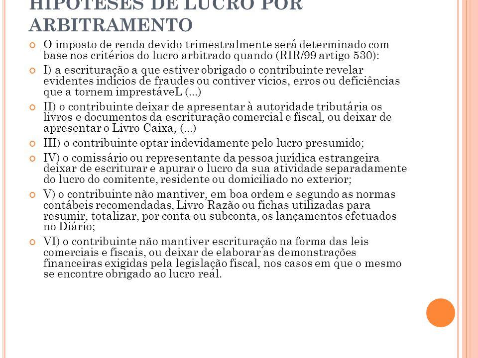 HIPÓTESES DE LUCRO POR ARBITRAMENTO