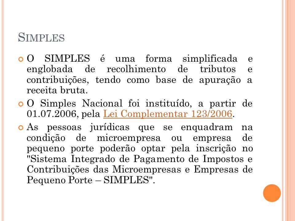 Simples O SIMPLES é uma forma simplificada e englobada de recolhimento de tributos e contribuições, tendo como base de apuração a receita bruta.
