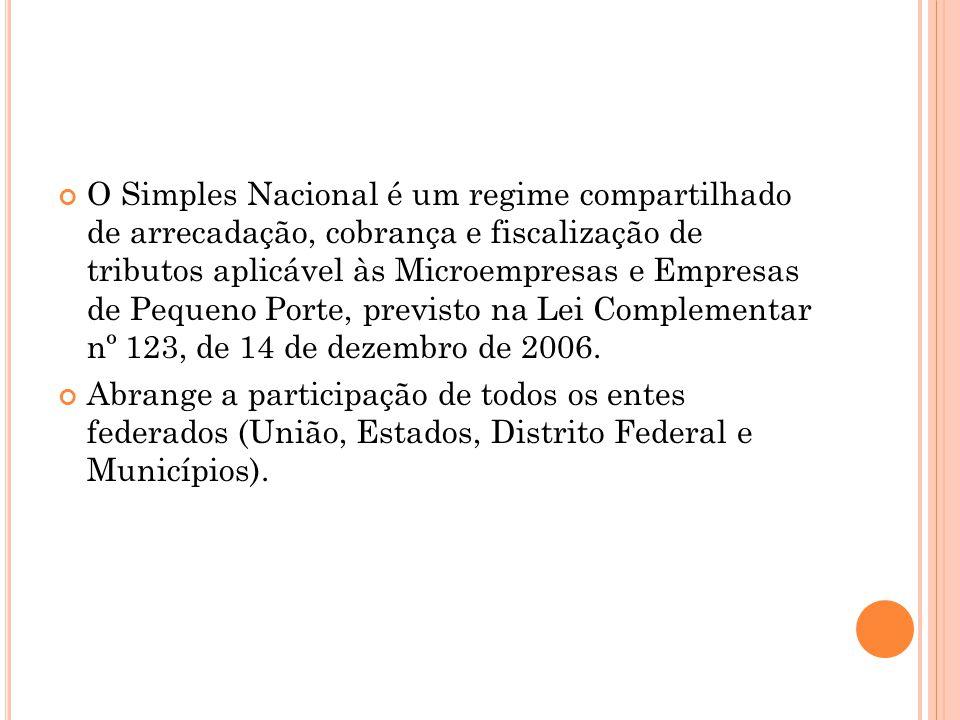 O Simples Nacional é um regime compartilhado de arrecadação, cobrança e fiscalização de tributos aplicável às Microempresas e Empresas de Pequeno Porte, previsto na Lei Complementar nº 123, de 14 de dezembro de 2006.