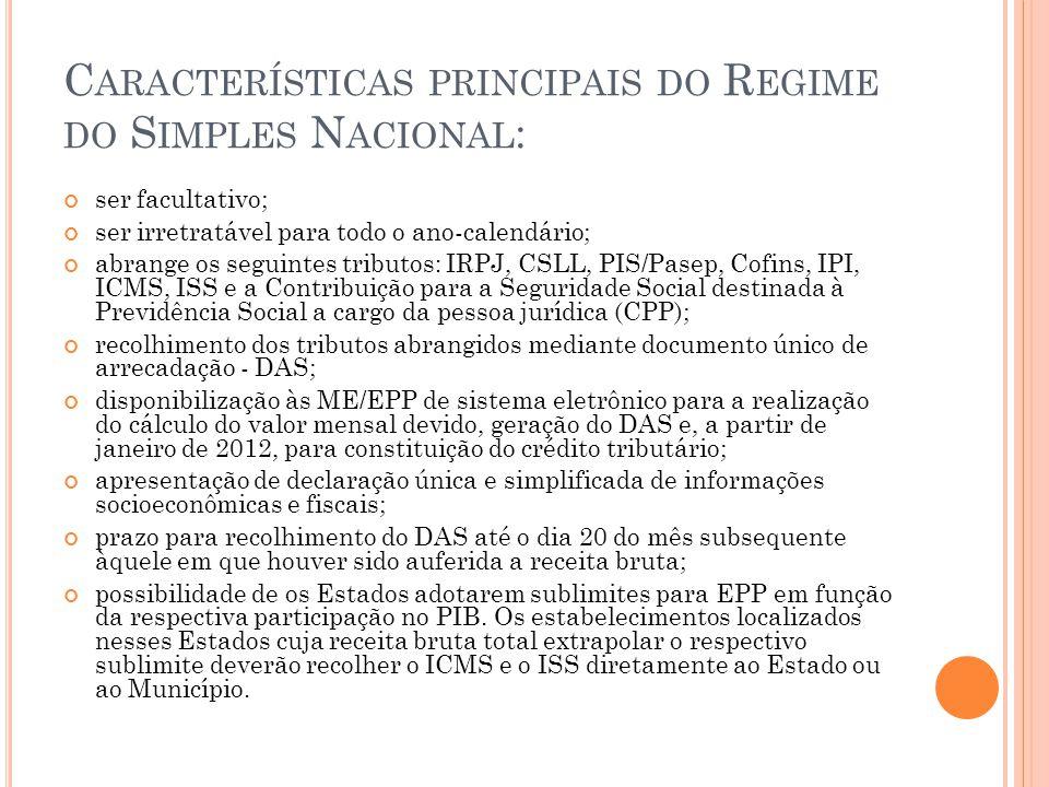 Características principais do Regime do Simples Nacional: