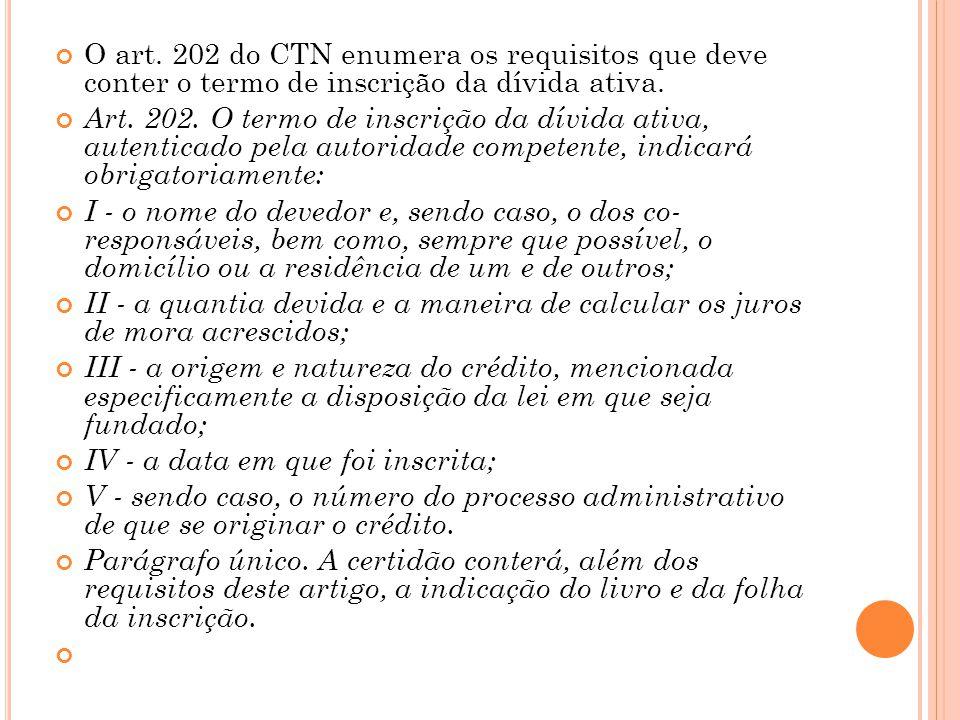 O art. 202 do CTN enumera os requisitos que deve conter o termo de inscrição da dívida ativa.
