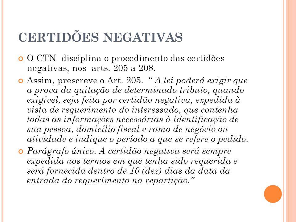 CERTIDÕES NEGATIVAS O CTN disciplina o procedimento das certidões negativas, nos arts. 205 a 208.