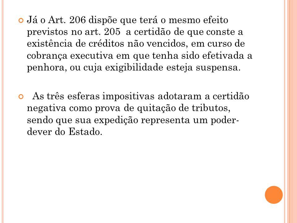 Já o Art. 206 dispõe que terá o mesmo efeito previstos no art