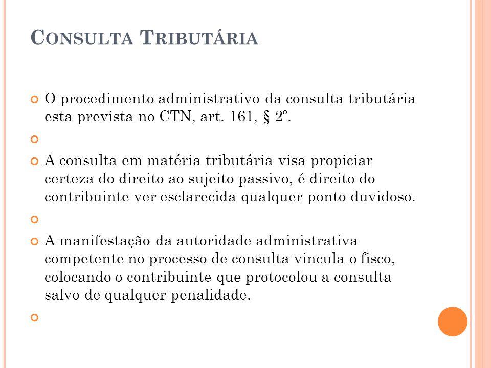 Consulta Tributária O procedimento administrativo da consulta tributária esta prevista no CTN, art. 161, § 2º.