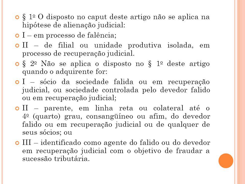 § 1o O disposto no caput deste artigo não se aplica na hipótese de alienação judicial: