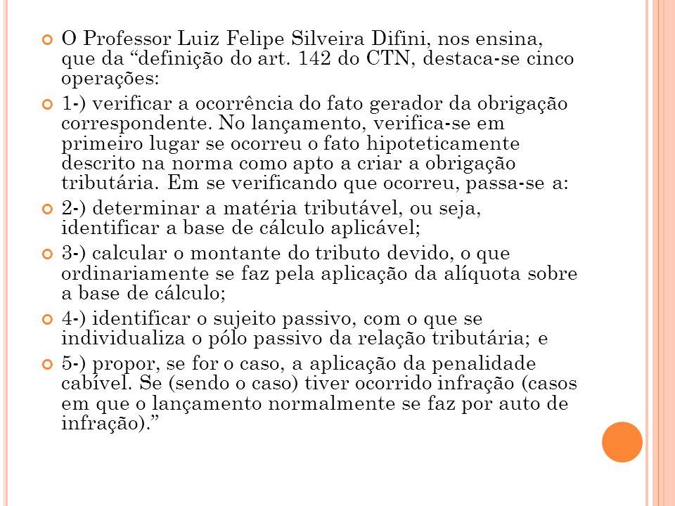 O Professor Luiz Felipe Silveira Difini, nos ensina, que da definição do art. 142 do CTN, destaca-se cinco operações: