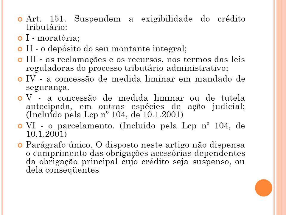 Art. 151. Suspendem a exigibilidade do crédito tributário: