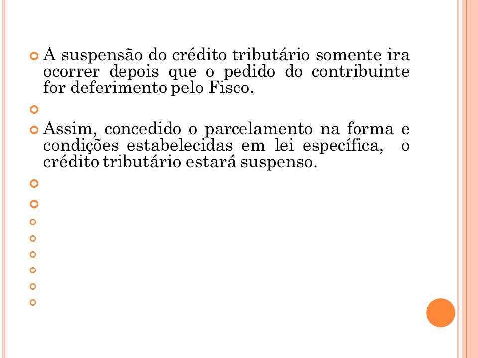 A suspensão do crédito tributário somente ira ocorrer depois que o pedido do contribuinte for deferimento pelo Fisco.