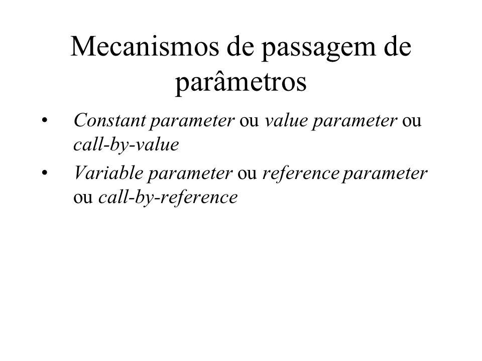 Mecanismos de passagem de parâmetros
