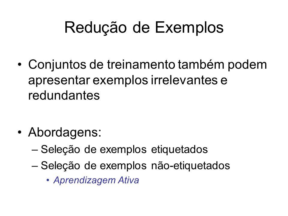 Redução de Exemplos Conjuntos de treinamento também podem apresentar exemplos irrelevantes e redundantes.