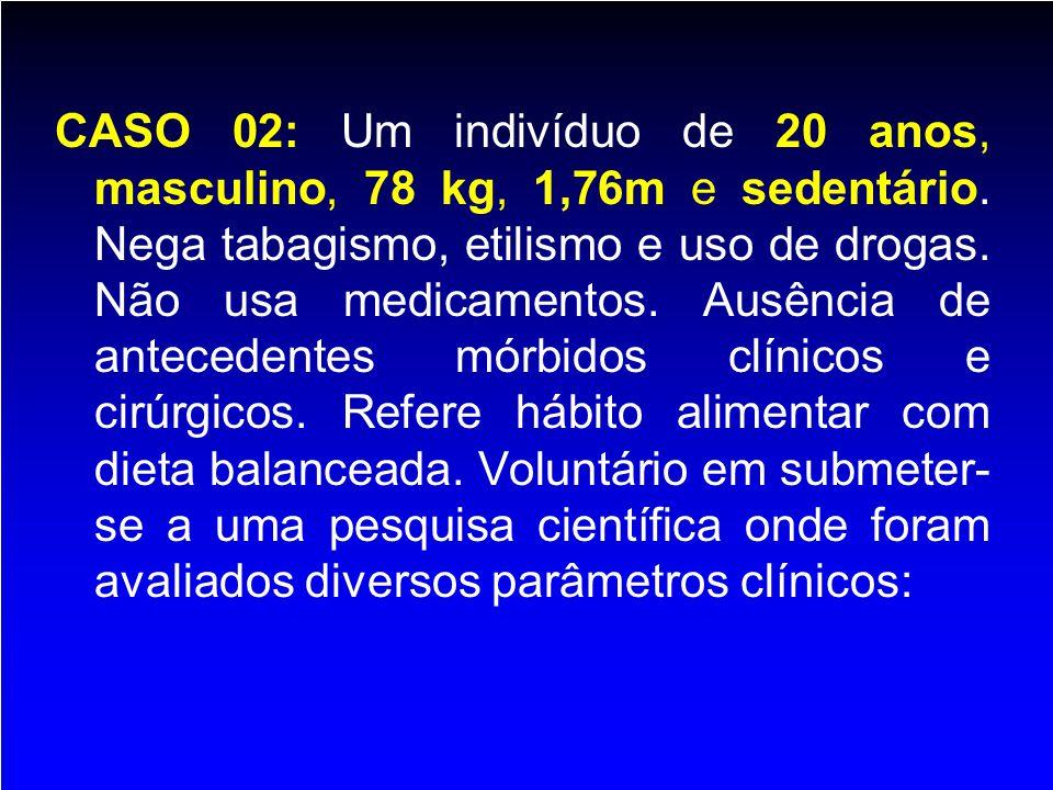 CASO 02: Um indivíduo de 20 anos, masculino, 78 kg, 1,76m e sedentário