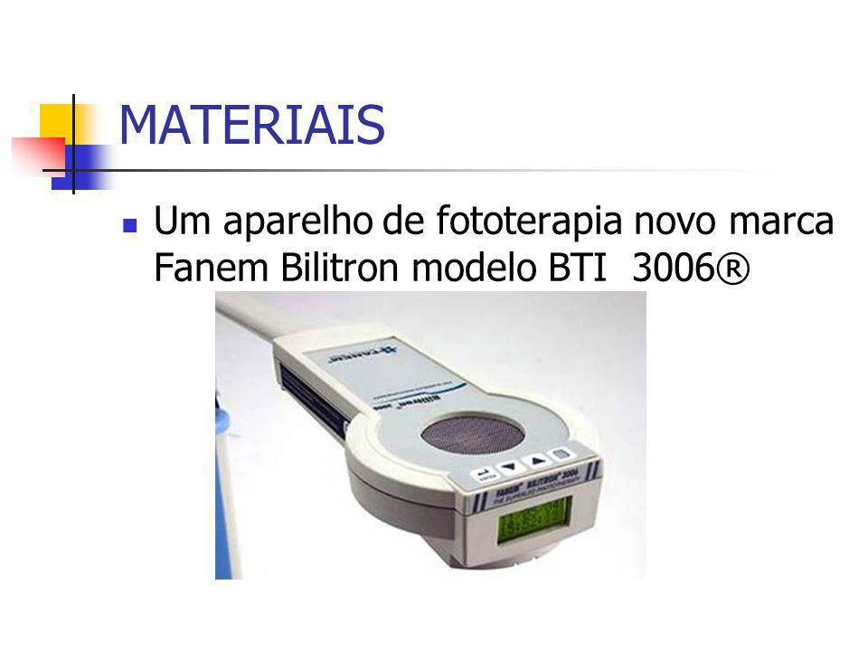 MATERIAIS Um aparelho de fototerapia novo marca Fanem Bilitron modelo BTI 3006®