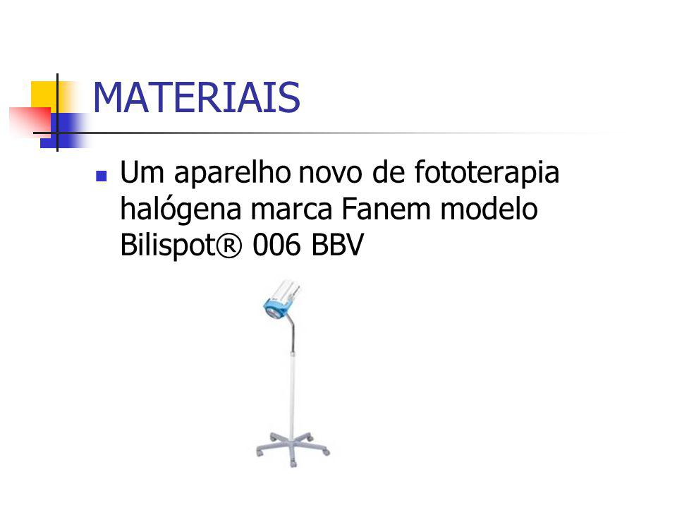 MATERIAIS Um aparelho novo de fototerapia halógena marca Fanem modelo Bilispot® 006 BBV