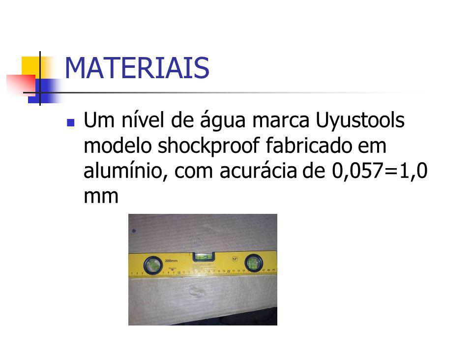 MATERIAIS Um nível de água marca Uyustools modelo shockproof fabricado em alumínio, com acurácia de 0,057=1,0 mm.
