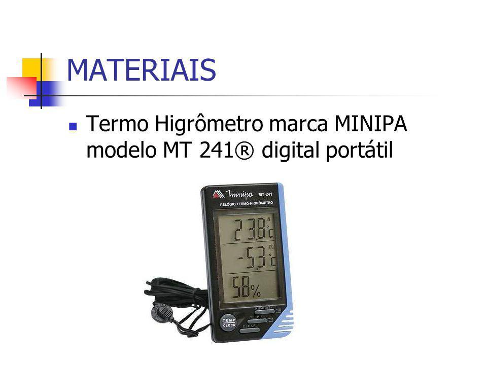MATERIAIS Termo Higrômetro marca MINIPA modelo MT 241® digital portátil