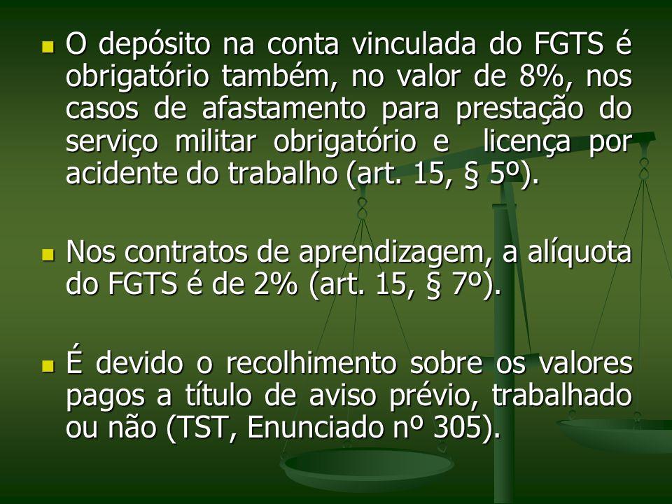 O depósito na conta vinculada do FGTS é obrigatório também, no valor de 8%, nos casos de afastamento para prestação do serviço militar obrigatório e licença por acidente do trabalho (art. 15, § 5º).