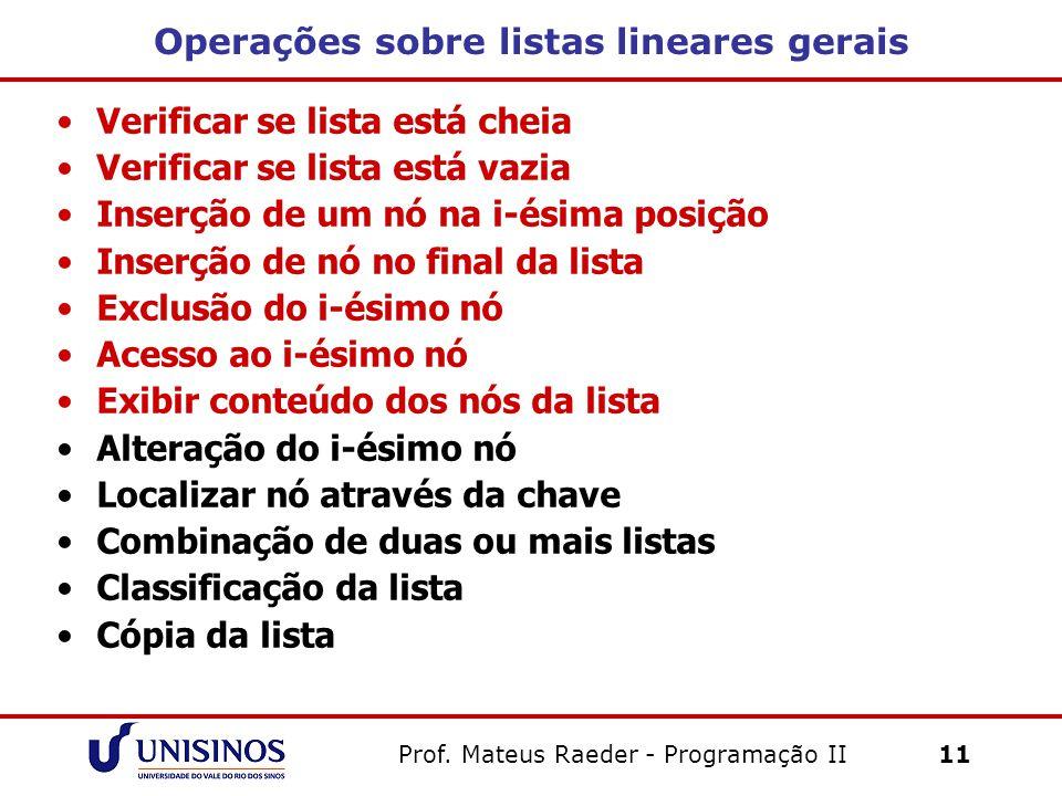 Operações sobre listas lineares gerais