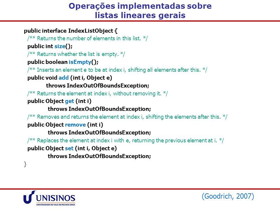 Operações implementadas sobre listas lineares gerais