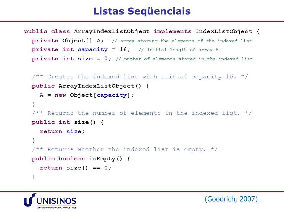 Listas Seqüenciais (Goodrich, 2007)