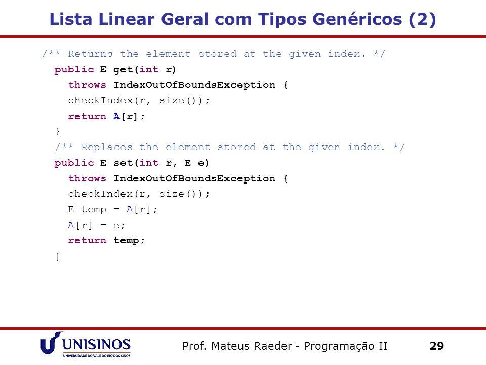Lista Linear Geral com Tipos Genéricos (2)