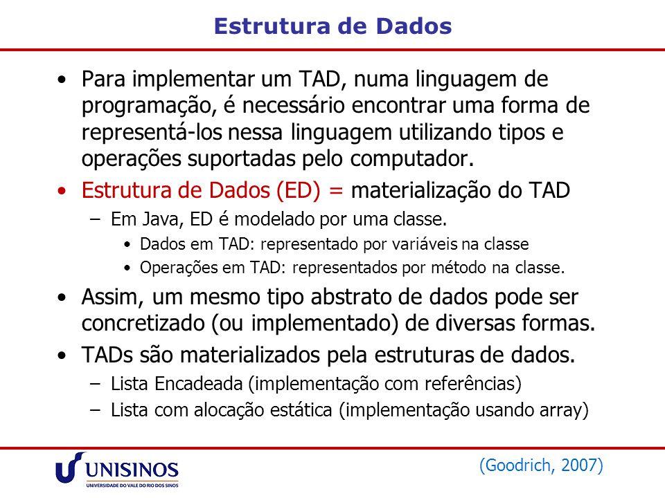 Estrutura de Dados (ED) = materialização do TAD